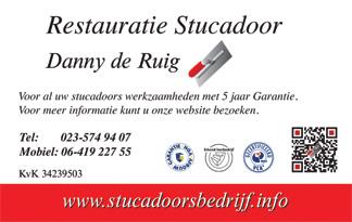 visitekaartje stucadoor Danny de Ruig